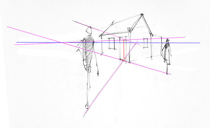 A sketch of two figures and a house with leading lines showing how to line up perspectives